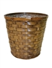 "<!020>7.5"" Stained Bamboo Pot Cover (holds a 6.5"" pot)"