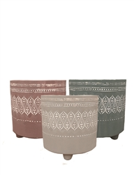 "5.6"" Round Decorative Matte Finish Ceramic Footed Pots w/ Drain Hole and Liner, 3 Assorted, 6/case, holds a 4.5"" pot"