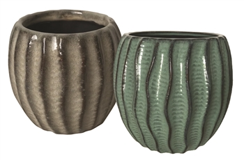 "8"" Wavy Stoneware, No Hole, 2 Colors (4/case)"
