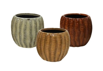 "3.2"" Wavy Stoneware, No Hole, 3 Colors (12/case)"