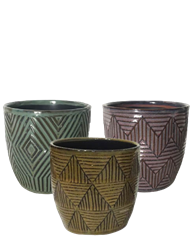 "5.5"" Ornate Stoneware, No Hole, 3 Colors (6/case)"