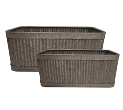 S/2 Large Rectangular Metal Ribbed Planters
