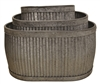 S/3 Large Oval Heavy Metal Ribbed Planters