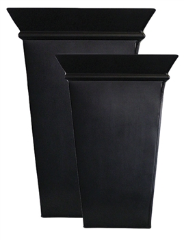 S/2 Tall Decorative Rim Flared Square Zinc Pots - Lead