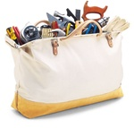 "CLC304X 20"" X 16"" CANVAS MASON'S TOOL BAG WITH SUED LEATHER BOTTOM"