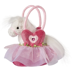 "Pink Ballerina Bag with White Horse 7""w"