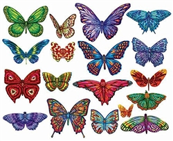 Butterflies 18 Shaped Puzzles II 500 Piece Total by Lafayette Puzzle Company
