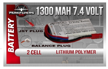 1300mah 7.4 volt 2 Cell Lipoly Battery - JST