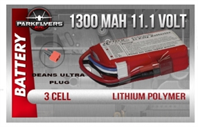 3 Cell 11.1volt 1300 Mah LiPoly Battery