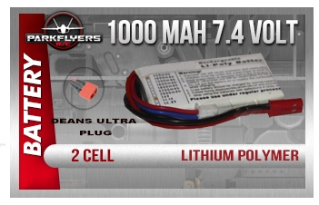 Parkflyers 2 cell 7.4 volt 1000 Lipoly battery