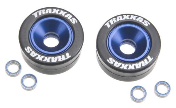 Traxxas Mounted Wheelie Bar Tires/Wheels Blue (2)
