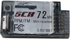 6 Channel (ch# 18) E-FLY 100C PPM Receiver.