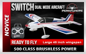 "Switch 2-in-1 Sport Trainer EP 2.4GHz RTF 45"" RTF Plane"