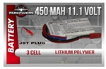 3 Cell 11.1 volt 450 Mah Lipoly Battery