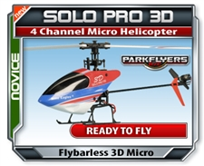Solo Pro 100D 280A Mini 3G Flybarless 3D 2.4G 6ch RC 3D Heli RTF