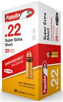 Aguila .22 Super Extra Short 22 short 50Round Box 29gr Copper Plated *NO LIMITS*