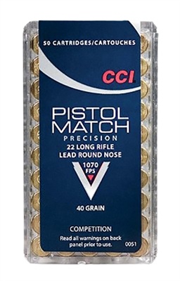 CCI 22LR PISTOL MATCH 1070 FPS 50 RND BOX 40GR COMPETITION