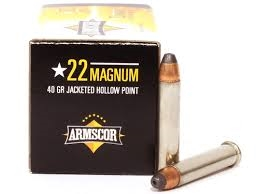 Armscor 22 Magnum 40gr JHP 50 RND BOX NICKEL CASINGS *BLOWOUT*