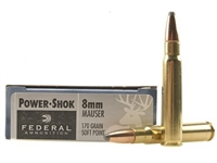 FEDERAL 8MM MAUSER 8X57 170GR SP 20 RND BOX