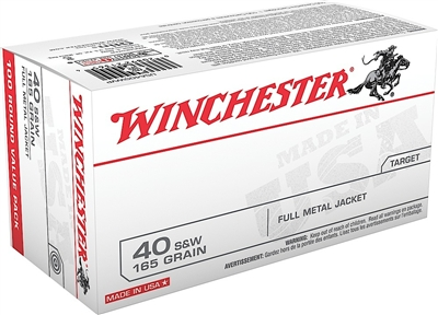 WINCHESTER 40 S&W 100 RND VALUE PACK 165GRN FMJ