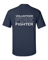 Volunteer Firefighter Printed on Back - Badge Printed on Front Men's T-Shirt (285)