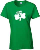 St. Patrick's Day Shamrock Drunk 4 LADIES Junior Fit T-Shirt (1060)