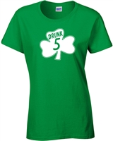 St. Patrick's Day Shamrock Drunk 5 LADIES Junior Fit T-Shirt (1060)