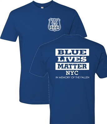 Blue Lives Matter Front & Back Block Print Men's T-Shirt (1167)