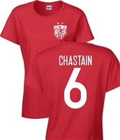 Brandi Chastain US Soccer Front and Back JUNIOR FIT Ladies T-Shirt (1181)
