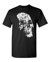 Monster Skull Shape Mosaic of Movie Villains Men's T-Shirt (1285)