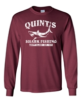 Quint's Shark Fishing - White Print LONG SLEEVE Men's T-Shirt (1206)