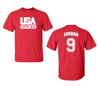 Retro USA Men's Basketball Jordan # 9 Front & Back Men's T-Shirt (1463)