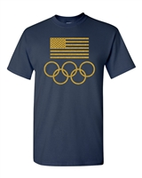 American Flag Olympic Circles Men's T-Shirt (1502)