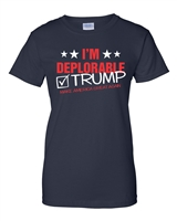 I'm Deplorable I Support Trump LADIES T-Shirt Navy (1512)