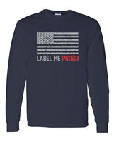 Label Me Proud USA Flag LONG SLEEVE  T-Shirt (1593)