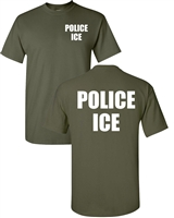 Police ICE US Immigration Printed on Front & Back Men's  T-Shirt  (1627)