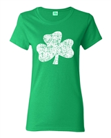 St. Patrick's Day Distressed Shamrock LADIES Junior Fit T-Shirt (1581)
