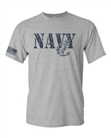 United States Navy Flag on Sleeve Men's T-Shirt (1661)