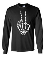 Skeleton Peace Sign Halloween Men's LONG SLEEVE T-Shirt (1678)