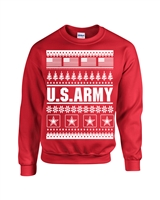 US Army Ugly Sweater Design Christmas Crew Sweatshirt (1709)