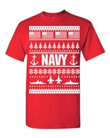 US Navy Ugly Sweater Design Christmas Men's T-Shirt (1710)