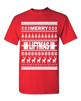 Merry Liftmas Ugly Sweater Design Christmas Men's T-Shirt (1712)