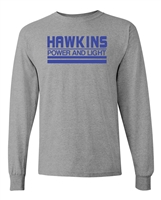 Hawkins Power And Light Stranger Things LONG SLEEVE Men's T-Shirt (1731)