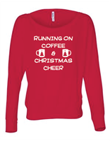 Running On Coffee & Christmas Cheer Ladies Long Sleeve off-Shoulder T-Shirt (8850) - (1727)