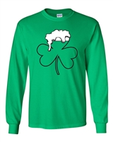 Shamrock Beer Mug St. Patrick's Day LONG SLEEVE Men's T-Shirt (1764)