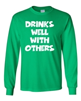 St. Patrick's Day - Drinks Well With Others LONG SLEEVE Men's T-Shirt (1774)