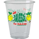 "16oz Clear Plastic ""We Squeeze to Please"" Cup. 1000 per case"