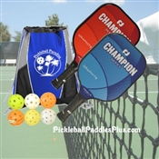 Champion Pickleball Paddle Team Set-2 paddles, 6 balls, and bag