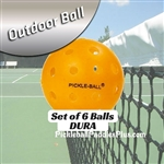 Pickleball Balls Dura Outdoor Orange Six Pack