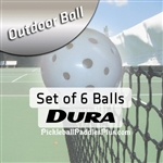 Pickleball Balls Dura Outdoor White Six Pack